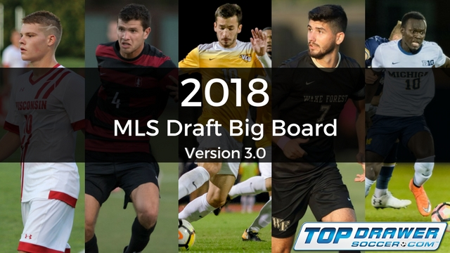 2018 MLS Draft Big Board: Version 3.0