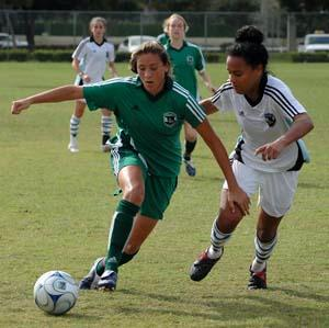 Girls club soccer players.