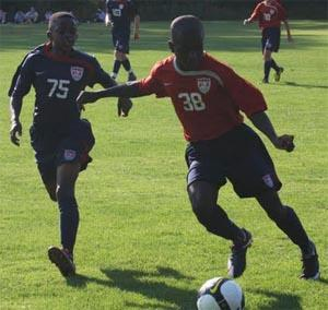 Elite boys club soccer players compete.