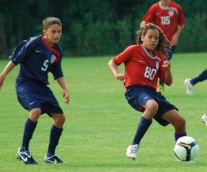 Elite boy's club soccer players compete.