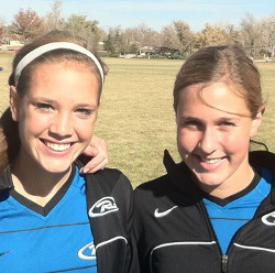 club soccer players Betsy Brandon and Jordan Dibiasi